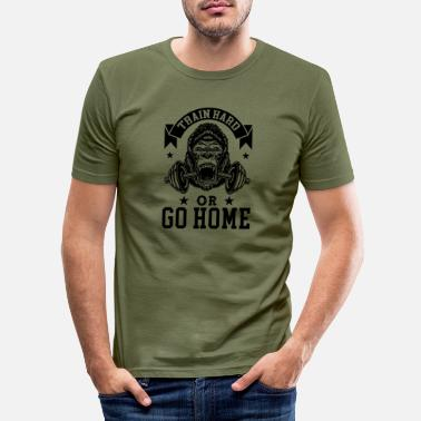 Donald Trump TRAIN HARD OR GO HOME! (Dark) - Männer Slim Fit T-Shirt