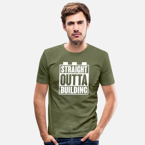 Straight Outta T-Shirts - Building Block - Building Blocks - Building - Straight Outta - Men's Slim Fit T-Shirt khaki green