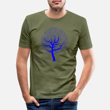 Blue Note Tree with blue notes - Men's Slim Fit T-Shirt