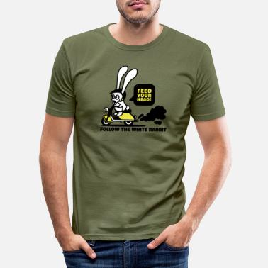 Feed-your Head follow the white rabbit - Männer Slim Fit T-Shirt