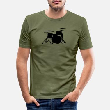 Drums Silhouette ReDesign 2 - Men's Slim Fit T-Shirt