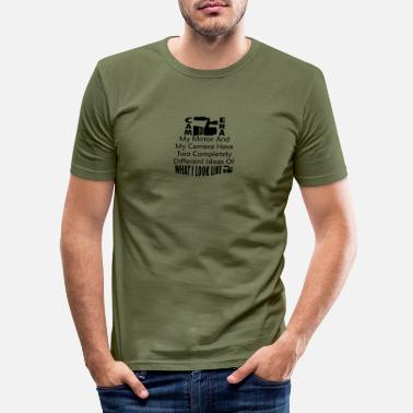 Black Camera and Mirror - Men's Slim Fit T-Shirt