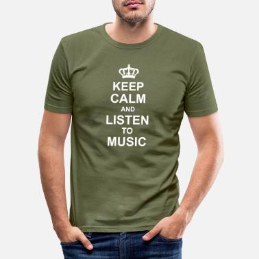Dj keep calm and listen to music kg10 - Men's Slim Fit T-Shirt