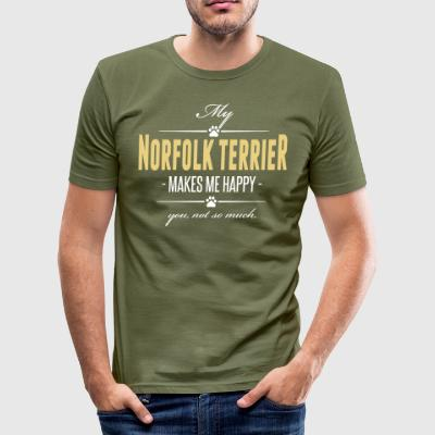 My Norfolk Terrier makes me happy - Männer Slim Fit T-Shirt