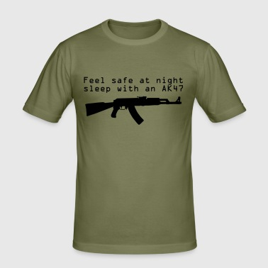 Feel safe at night, sleep with an gun - T-shirt près du corps Homme