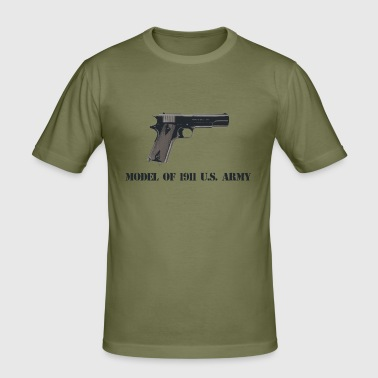 1911 pistol w text - Men's Slim Fit T-Shirt