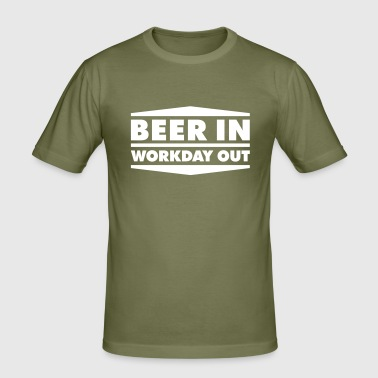 Beer in - Workday out 2_1c - Männer Slim Fit T-Shirt