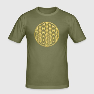 Flower of Life - FEEL THE ENERGY, Gold, Sacred Geometry, Protection Symbol, Harmony, Balance - Men's Slim Fit T-Shirt
