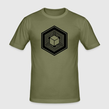 TESSERACT, Hypercube 4D, Crop Circle, 17th July 2010, Fosbury, Wiltshire, Symbol - Dimensional Shift - Slim Fit T-skjorte for menn