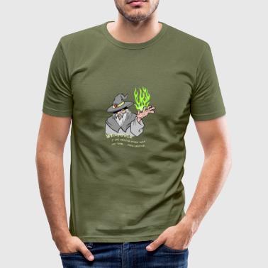 Willpower Wizard Grey / Green Flame - Men's Slim Fit T-Shirt