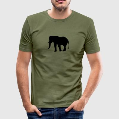 elefant silhuett - Slim Fit T-skjorte for menn