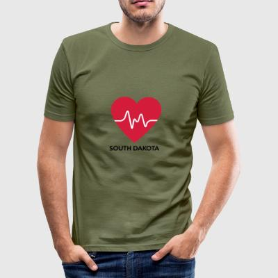 Heart South Dakota - Men's Slim Fit T-Shirt