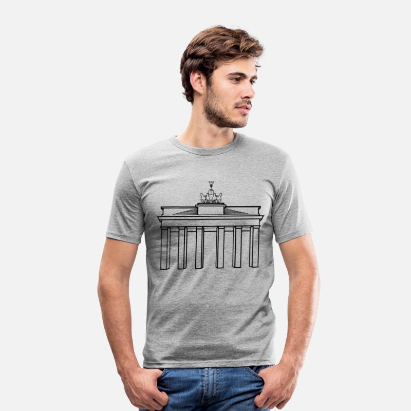 Tur T-shirt - Berlin Brandenburger Tor - Slim fit T-shirt mænd grå meleret