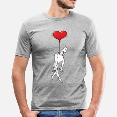 Hanging Man Hanged by a Heart Balloon - Men's Slim Fit T-Shirt