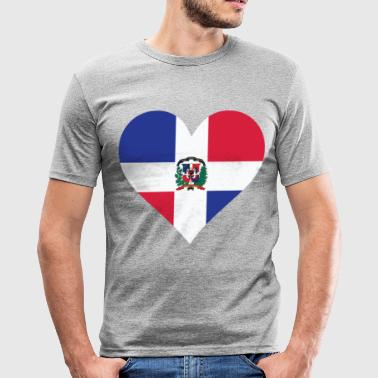 Et hjerte for Den Dominikanske Republik - Herre Slim Fit T-Shirt