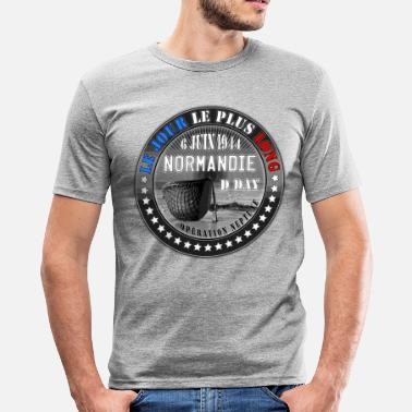 Seconde le jour le plus long normandie d day 1944 - T-shirt près du corps Homme