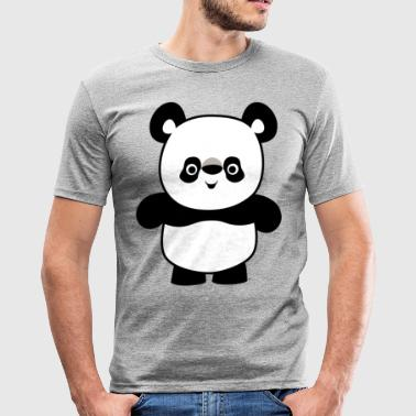 Cute Happy Cartoon Panda by Cheerful Madness!! - Men's Slim Fit T-Shirt