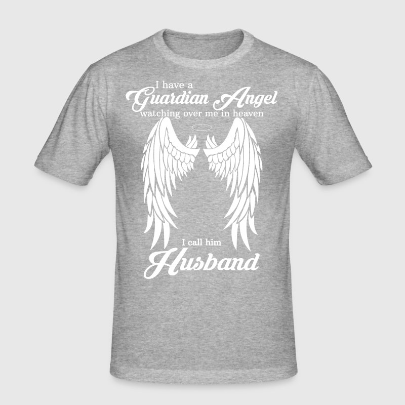 My Husband Is My Guardian Angel she Watches Over  - Men's Slim Fit T-Shirt