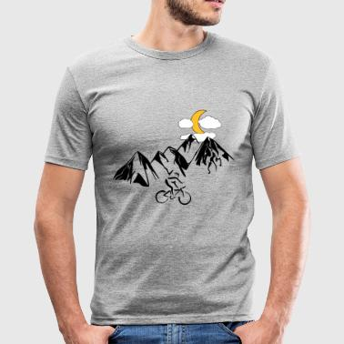 Mountain bikers with mountains - Men's Slim Fit T-Shirt