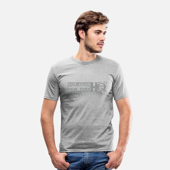 Big Apple T-Shirts - nyc_hq_vec_1de - Männer Slim Fit T-Shirt Grau meliert
