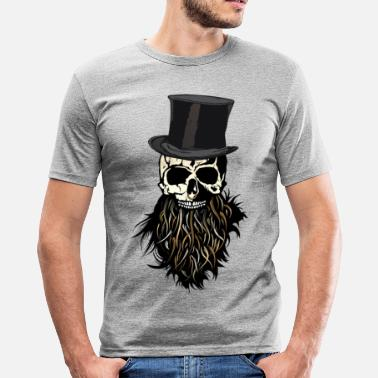 Nose Ring head of death hipster bearded beard skull ring nose - Men's Slim Fit T-Shirt