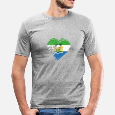 Sierra Grungy I Love Sierra Leone Heart Flag - Men's Slim Fit T-Shirt