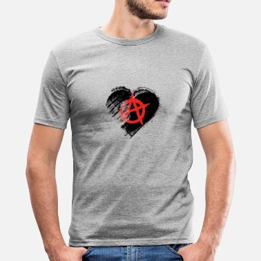 Panneau Sale Grungy I Love Anarchy Heart Flag - T-shirt près du corps Homme