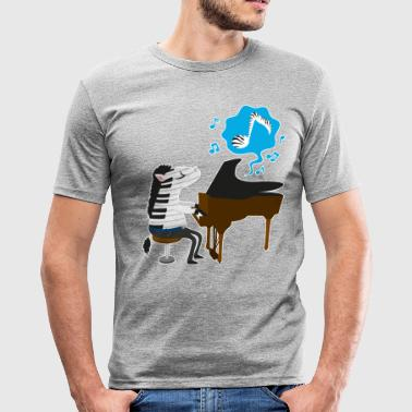 A zebra playing the piano - T-shirt près du corps Homme