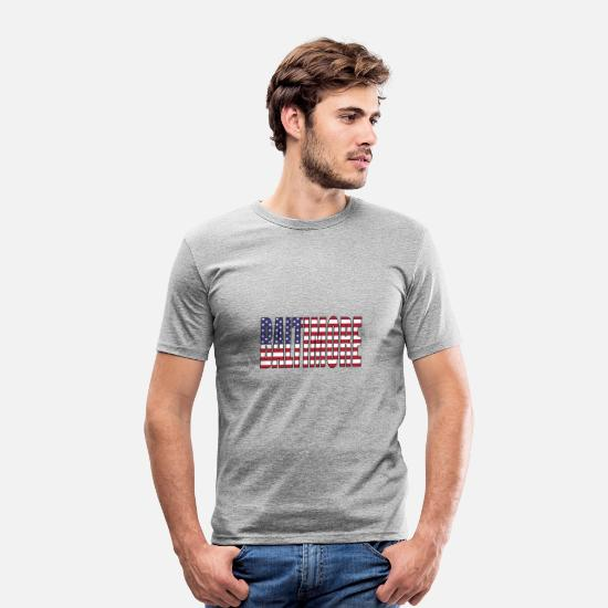 Ville T-shirts - BALTIMORE Stars et Stripes - T-shirt moulant Homme gris chiné