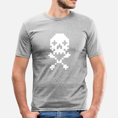 Old Glory Pirates 8 Bit Skull Retro Gaming - Men's Slim Fit T-Shirt