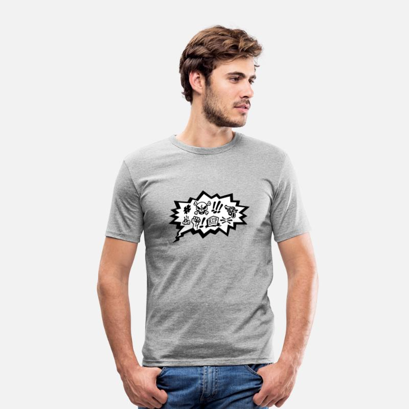 Cartoon Skull Book Camisetas - Comic Curses, Symbols Cartoon, Skull, Book, Words - Camiseta slim fit hombre gris jaspeado