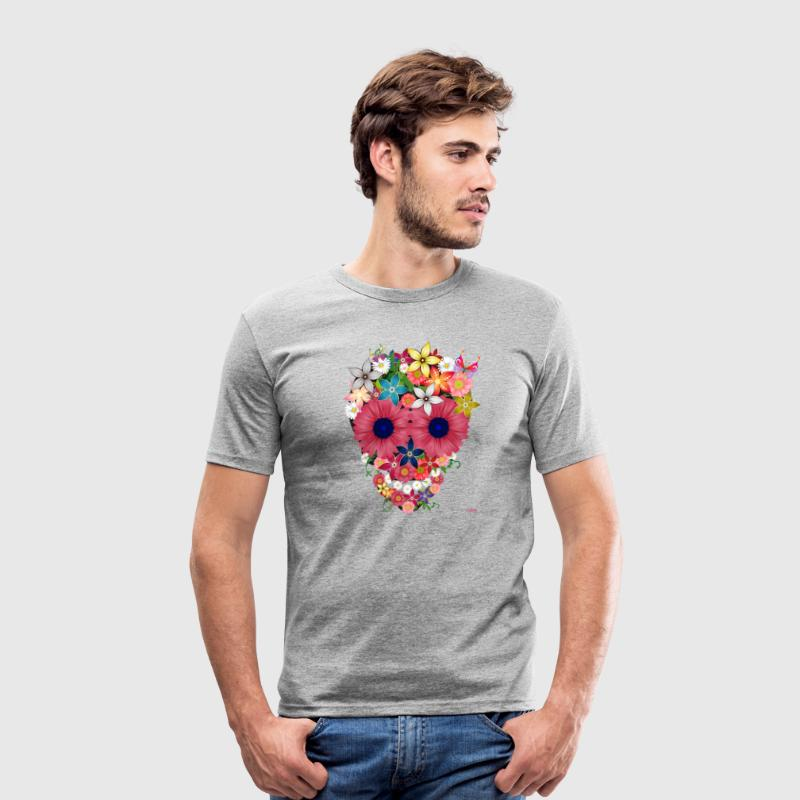 skull flowers by WAM - Tee shirt près du corps Homme