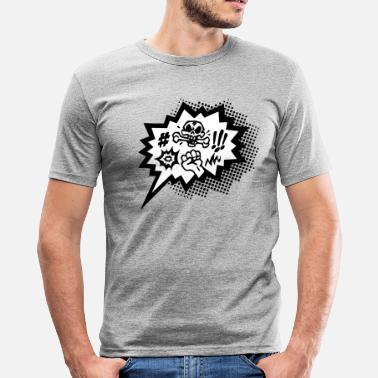 Comic Curses, Symbols Cartoon, Skull, Book, Words - slim fit T-shirt