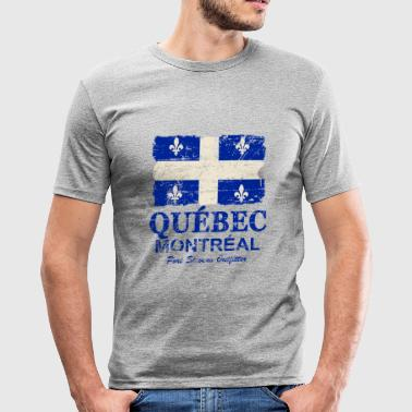 Québec  Flag - Canada - Vintage Look - slim fit T-shirt