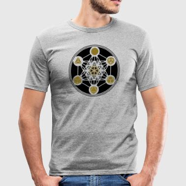 Platonic Solids Metatrons Platonic Solids, Metatrons Cube, Flower of Life - Men's Slim Fit T-Shirt