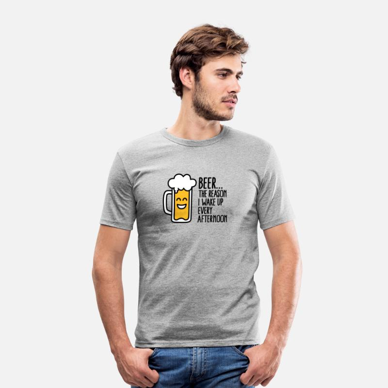 Abuse T-Shirts - Beer is the reason I wake up every afternoon - Men's Slim Fit T-Shirt heather grey