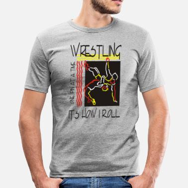 Wwc Wrestling That's How I Roll One Pin At A Time - Men's Slim Fit T-Shirt