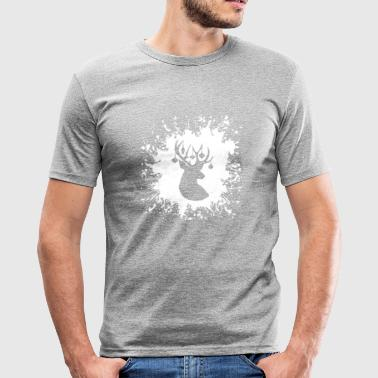 Rentier Geweih Splash - Männer Slim Fit T-Shirt