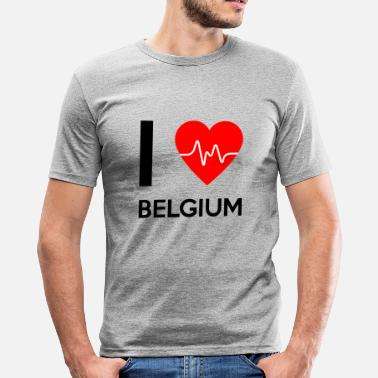 Belgium Sayings I Love Belgium - I Love Belgium - Men's Slim Fit T-Shirt