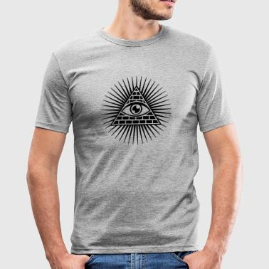 all seeing eye -  eye of god / pyramid - symbol of Omniscience & Supreme Being - slim fit T-shirt