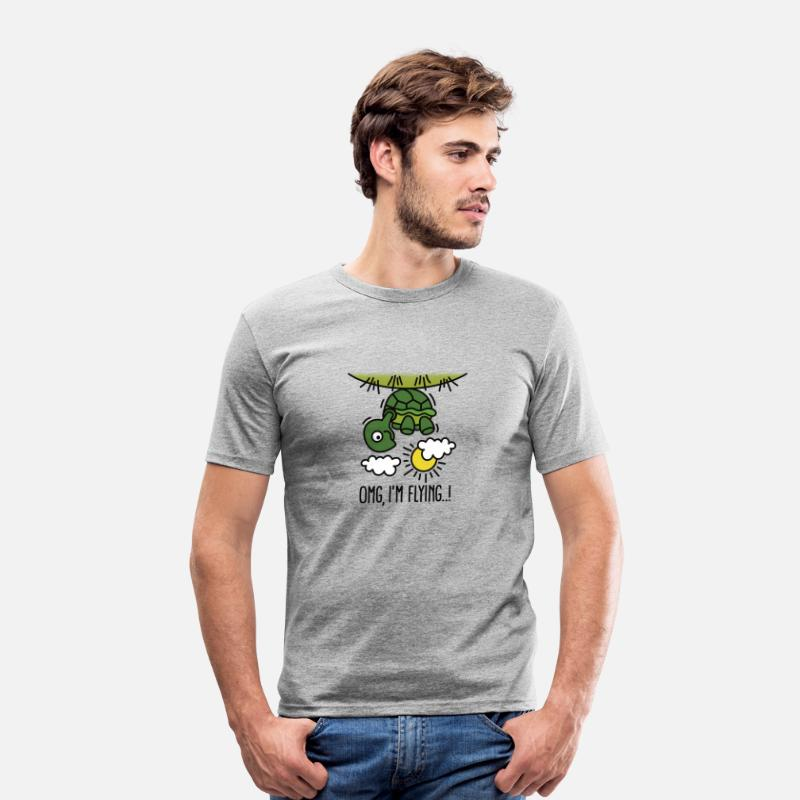 Animal T-Shirts - OMG, I'm flying! Turtle - Men's Slim Fit T-Shirt heather grey