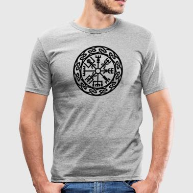 Vegvísir, Iceland, Magic Rune, Protection compass - Men's Slim Fit T-Shirt