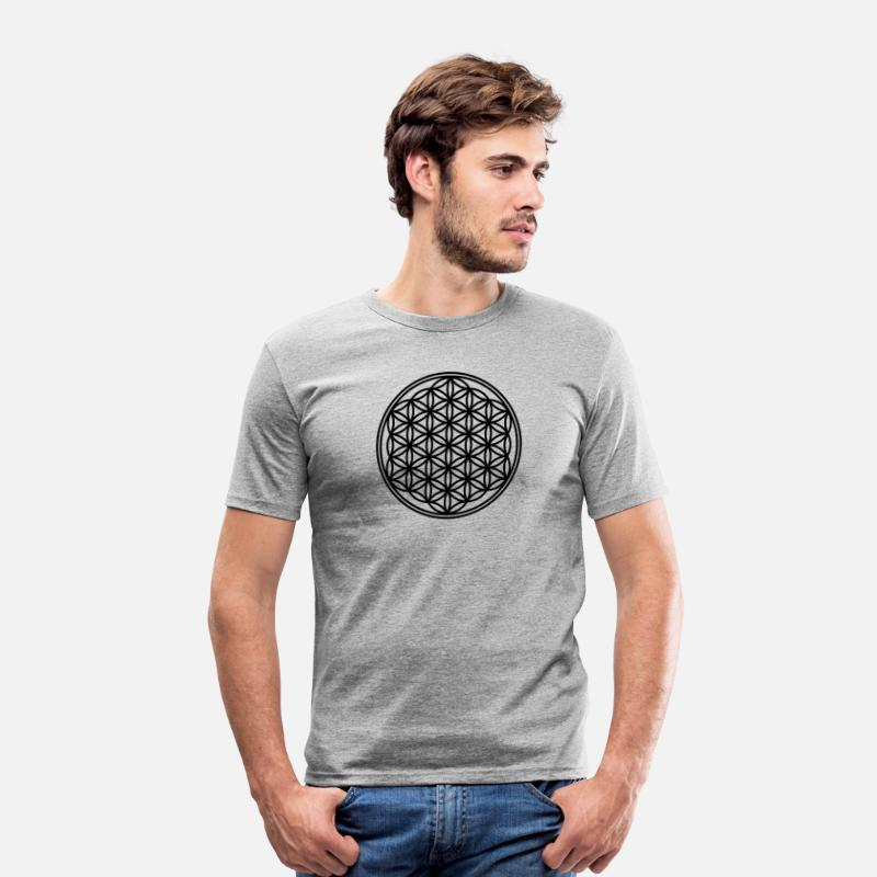 Spirituel T-shirts - Fleur de la vie - Vector - 01, 1c, sacred geometry, energy, symbol, powerful, healing, protection, cl - T-shirt moulant Homme gris chiné