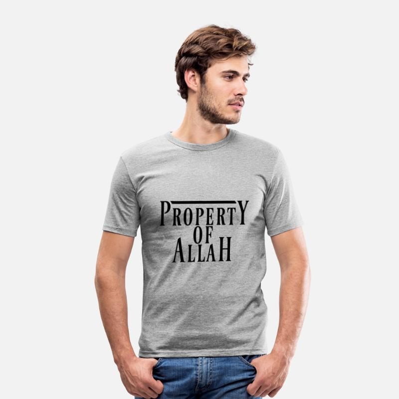 Islam T-Shirts - Property of Allah - Men's Slim Fit T-Shirt heather grey