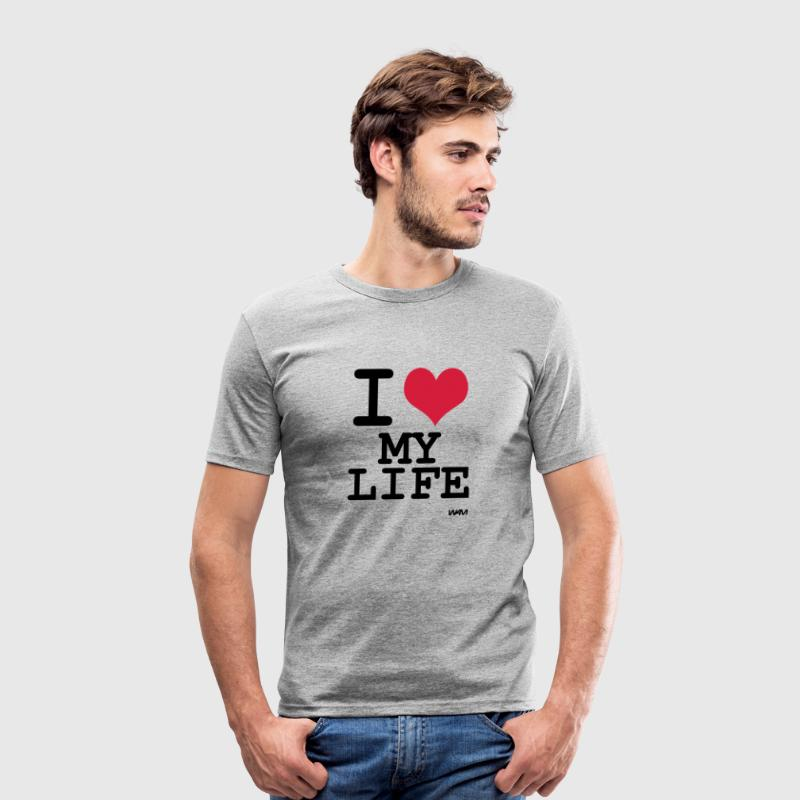 i love my life by wam - Slim Fit T-skjorte for menn