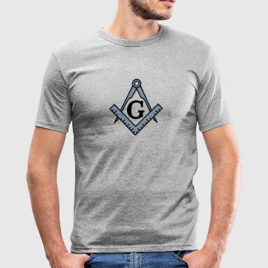 Freemason symbol, Masonic torget og kompass - Slim Fit T-skjorte for menn