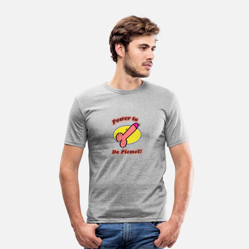 Grappig T-Shirts - Power to da piemel - Mannen slim fit T-shirt grijs gemêleerd
