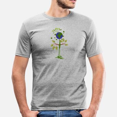 Hippie Flower Power Environmental Protection Global - Men's Slim Fit T-Shirt