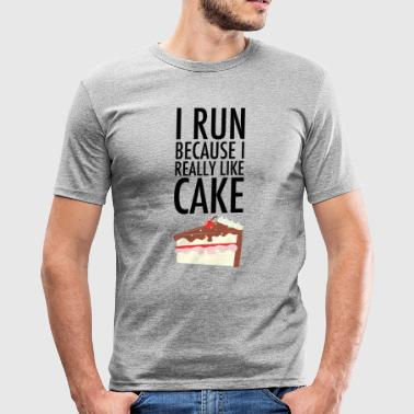 Running I Run Because I Really Like Cake - Men's Slim Fit T-Shirt