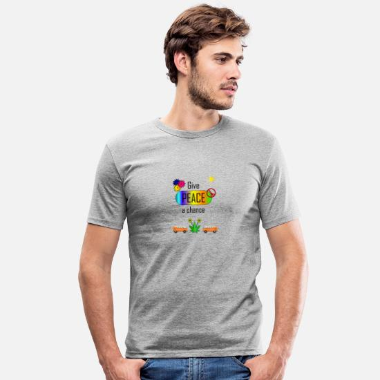 Rasta T-Shirts - Give peace a chance - Men's Slim Fit T-Shirt heather grey